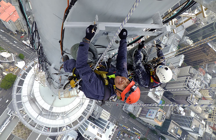 Hanging out. Technical Rigging Services won Best Rigging Job of the Year 2015 for the FM1 Broadcast Antenna on the Auckland Skytower