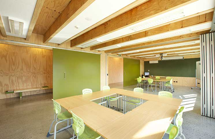 Classroom at Waiariki Polytechnic with LVL beams and EXPAN connections.