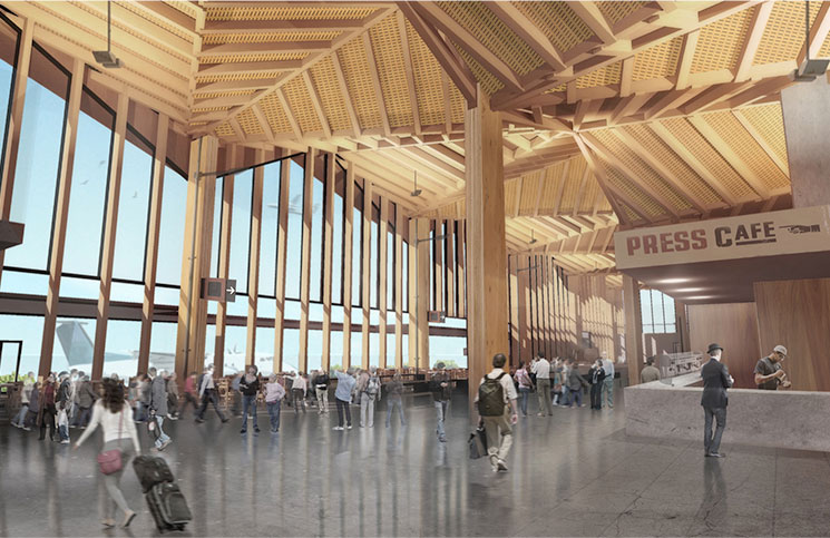Nelson Airport's futuristic new terminal building will utilise local timber materials and technologies.