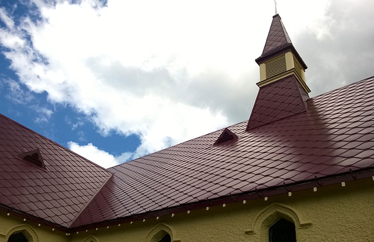 RANZ member Tony File Roofing Ltd was involved in the restoration of this historic church near Gisborne, replacing a decramastic tile with a diamond shaped metal shingle in embossed aluminium from the USA.