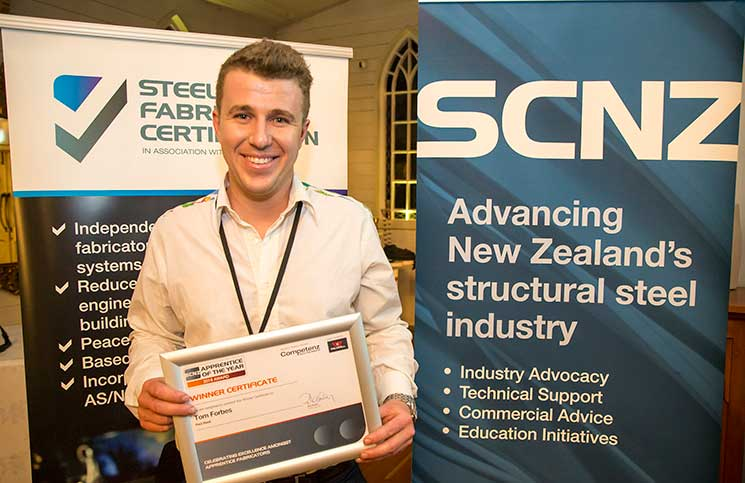 Thomas Forbes of Red Steel was delighted to be named the inaugural SCNZ Apprentice of the Year.